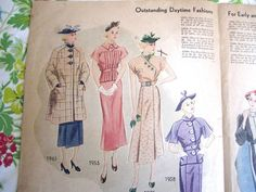 Simplicity Fashion Forecast, March 1936 featuring Simplicity 1961, 1953, 1975 and 1958
