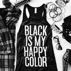 HP! ⭐ Black Is My Happy Color Flowy Tank Black Is My Happy Color Flowy Tank New viscose flowy tank. Extremely flattering for every body type!  Made in the USA. Sweatshop free.  Bundle to save! Comment for your own listing. 6 available. ♥ Hailika Boutique USA ♥ Tops Tank Tops