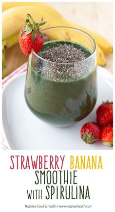 Fruity, full of vitamins and minerals, strawberry banana smoothie with spirulina is ideal springtime healthy drink. Without added sugar, enriched with spirulina and chia seeds, packed with fibers and proteins this smoothie is a super nutritious meal. Clik to read more or pin to save for later!