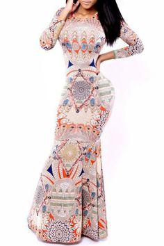 Vintage Print Long Sleeve Fishtail Dress