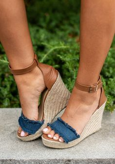 Never Leaving You Wedges, Denim Blue - You will never want to leave these wedges! They are beyond perfect for summer! The frayed, canvas toe strap is precious and we love the jute around the wedge! Source by gailaberube wedges Women's Shoes, Shoes 2018, Mode Shoes, Shoe Boots, Denim Shoes, Shoes Style, Buy Shoes, Dress With Sneakers, Best Sneakers