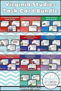 Virginia Studies Task Cards includes 10 sets of task cards for teaching all Virginia Studies standards. More than 280 task cards, student response sheets, and answer keys are included. Perfect for reviewing Virginia Studies!  #vestals21stcenturyclassroom #virginiastudies #virginiastudiestaskcards #virginiastudiesideas #4thgradesocialstudies
