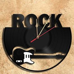 Wall Clock Rock Vinyl Record Clock Upcycled Gift by geoartcrafts