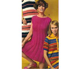 Knitting pattern for a summer dress in knitting worsted.   The dress has a boat neck, is sleeveless and had long vertical all-over ribbing.   The dress is knee length and sized small, medium and large.