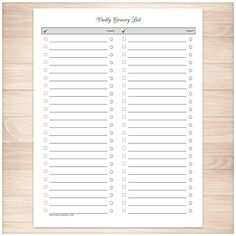 Convenient printable grocery list in a clean and simple two column design. Make writing grocery lists convenient with this organized list. This page has lines for your grocery items, check boxes to mark off the items as you add them to your grocery cart, and coupon circles to use if you know you have a coupon for that item. That takes out the guess work at the cash register. Print as many as you need for as long as you have this printable PDF.