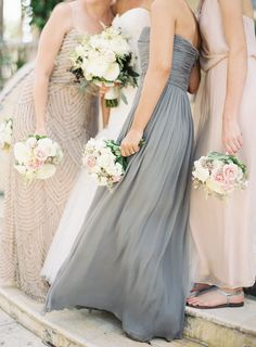 choose lighter colors and fabrics for Bridesmaids when planning a warm weather wedding Photography: Jessica Lorren - jessicalorren.com Floral Design: Simply Unique by Lenka - simplyuniquefloral.com/bio.html  View entire slideshow: Beat the Summer Heat on http://www.stylemepretty.com/collection/395/