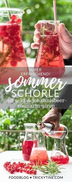 Sommer Sektschorle mit Johannisbeer Rosmarin Sirup recipe for a super refreshing summer champagne spritzer with currant-rosemary syrup from trickytine ♥ Sparkling Lemonade, Lemonade Cocktail, Raspberry Lemonade, Sparkling Wine, Cocktail Drinks, Alcoholic Drinks, Wine Cocktails, Vodka, Refreshing Summer Cocktails