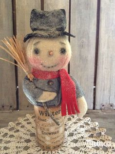 Primitive Grungy Snowman Christmas Doll #NaivePrimitive