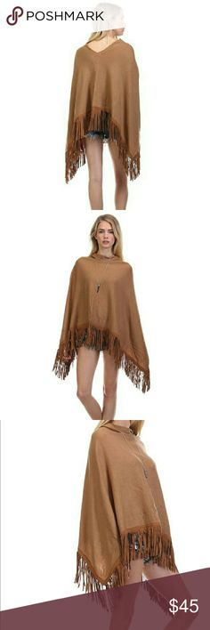 Tea n cup Fringe poncho Beautiful camel color,  a basic piece for this fall season, one size fits all. Tea n Cup Jackets & Coats Capes