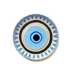 Evil Eye Decor - Decorative Plate - Bohemian Evil Eye - Boho Ornament Decor - Wall Art - Mandala Decor - Decorative Bohemian Decor - Plate by biancafreitas on Etsy