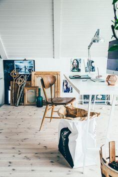 all white attic creative workspace // via coco+kelley