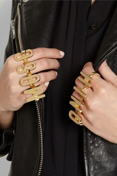 Moschino|+ VA set of two gold-plated knuckle rings