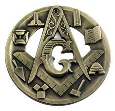 Symbolic Square & Compass Round Masonic Auto Emblem - [Antique Diameter]-Measures Approximately 3 DiameterMade from BrassAntique Brass FinishAdhesive Backing for Easy Application!Made by The Masonic Exchange Masonic Car Emblems, Masonic Art, Masonic Lodge, Masonic Symbols, Hiram Abiff, Men Of Letters, Car Badges, Freemasonry, Knights Templar