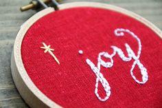 joy embroidery hoop art christmas ornament