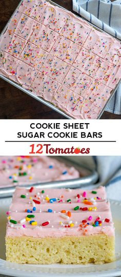 Sugar Cookie Bars We're not going back to the old version. Köstliche Desserts, Delicious Desserts, Dessert Recipes, Bar Recipes, Sugar Cookie Dough, Sugar Cookies, Baking Recipes, Cookie Recipes, Cream Cheese Buttercream Frosting