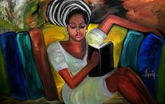I like that this is a women of color depicted reading a book.