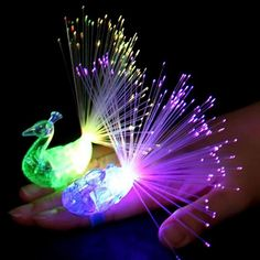 Peacock Finger Light Colorful LED Light-up Rings Party Gadgets Kids Intelligent Toy for Brain Development