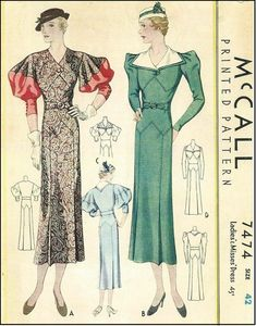 McCall #7474 - 1930s Ladies One-Piece Dress with Sleeve Options - Sewing Pattern