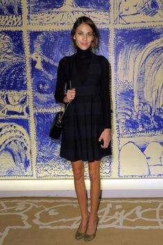 """earlysunsetsovermonroeville: """" Alexa Chung attends ANDAM Fashion Award at Ministere de la Culture on October 2011 in Paris, France """" Daily Alexa Chung, Alexa Chung Style, Black Turtleneck, Dress For Success, Culture, Celebs, Celebrities, Navy Dress, Pretty Dresses"""