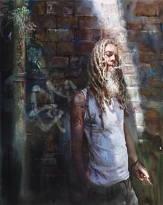 """""""Absolution""""  Mary Whyte. watercolor on paper, 2010 Absolution refers to our vulnerability as people, and to the seduction of drugs. The shaft of light represents God's forgiveness and is also orchestrated as a compositional device to lead the viewer's eye up and thru the painting."""