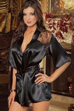 a95f98d1f50 Back See-Through Lace-Up Robe Lingerie Sleepwear