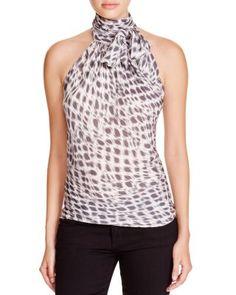 Ramy Brook Tie Neck Stretch Silk Top | Bloomingdale's
