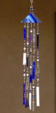 Making Stained Glass Wind Chimes | Blue Glass Windchimes - Wind Chime - Stained Glass Wind Chime - Glass ...