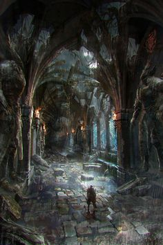 old castle corridor, silentfield . on ArtStation at https://www.artstation.com/artwork/old-castle-corridor
