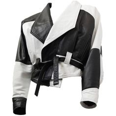 Preowned 80s Black And White Napa Leather Cropped Jacket ($695) ❤ liked on Polyvore featuring outerwear, jackets, white, nappa leather jacket, 80s jackets, cropped jacket, white cropped jacket and white jacket