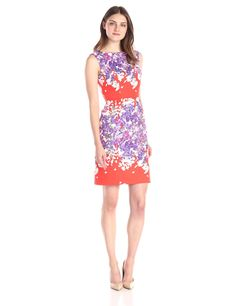 Striped Out Multii Floral Printed Sheath Dress by Adrianna Papell