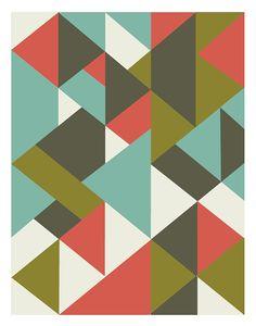 Geometric poster mid century art print retro by angelaferrara, $18.00