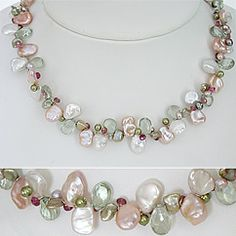 Keshi pearl necklace in pink & white pearls with green amethyst & pink tourmaline gemstones. Destination weddings, bridal, fashion necklace.