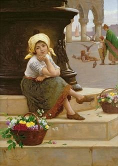 A Venetian Flower Girl ~ Antonio Paoletti Great Paintings, Beautiful Paintings, Munier, Flowers For Sale, Italian Painters, Victorian Art, Art Themes, Flower Fashion, Beautiful Children