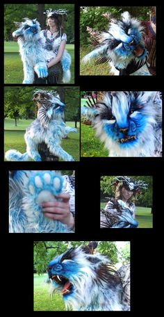 LIFE SIZED Fantasy Blue Tiger Puppet! Video! by Wood-Splitter-Lee.deviantart.com on @deviantART When I get more confident with making posable dolls, I must try a movable jaw!