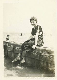 1917 Teenage Girl Bathing Beauty Kicks Leather Swim Booties