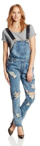 On sale for $69.30!!! One Teaspoon Women's Awesome Denim Overall in Cobain #denim #overalls #wripped #jeans #overall #trendy #trend #fashion #2014 #sale