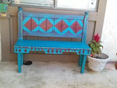 Headboard and Pallet wood Bench. $165.    '_'