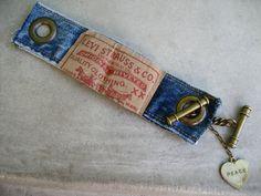 Denim Cuff Bracelet - Jeans Bracelet - Levis - Blue Denim Bracelet - Piece Lust