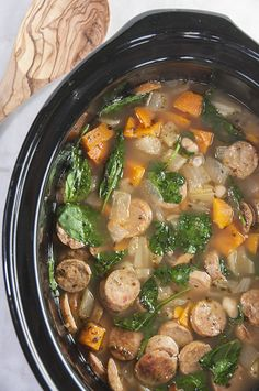 Crock Pot Sausage, Spinach