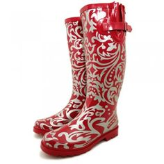 #Funky #Floral ... Festival Wellys Wellies Wellingtons Flat Knee Rain Boots - Elegant