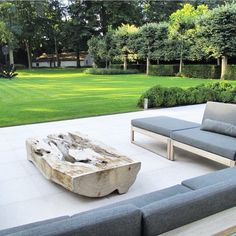 This sunny weather has got me thinking about gardens- both my clients and my own. Petrified logs look great both in the house and patio, I'm going to install a few around my firepit as side tables #garden #gardendesign #patio #petrifiedwood