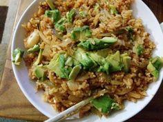 Kimchi fried rice with avocado: Say Peas