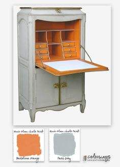 Inspiration from Archiexpo. Louis XV Secretary inspirers Barcelona Orange and Paris Grey Annie Sloan Chalk Paint® color combination Grey Furniture, Chalk Paint Furniture, Furniture Projects, Furniture Makeover, Furniture Design, Dresser Makeovers, Furniture Refinishing, Annie Sloan Chalk Paint Colors, Annie Sloan Paints