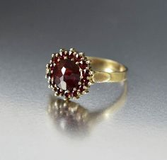Antique Edwardian Bohemian Garnet Halo Ring - Boylerpf - 4