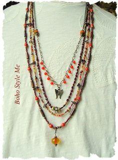 Bohemian Jewelry Multiple Strand Beaded Necklace Modern
