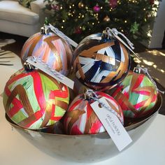 Loving these #artfulholiday ornaments by @lindsaycowlesllc ! Available tomorrow at our mini shop, 4-8PM!