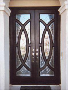 Mahogany 8ft. tall doors Doors Interior Modern, House Front Door, Wood Doors Interior, Wrought Iron Glass, Door Design Wood, Door Gate Design, Double Doors Exterior, Door Glass Design