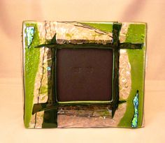 """Fused Glass Picture Frame - Sparkly green picture frame for 4.5"""" photo"""