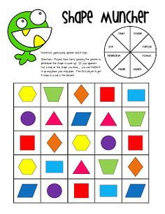 Shape Muncher - Players take turns spinning the spinner to determine the shape to cover up. If your opponent has a chip on the shape you need… you can MUNCH it up and place your chip down. The first player to get 4 chips in a row is the winner!
