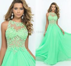 2015 floor length a line spring green chiffon prom dresses party evening elegant long gown with appliques